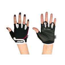 Перчатки Starfit для фитнеса SU-111, черные/белые/розовые