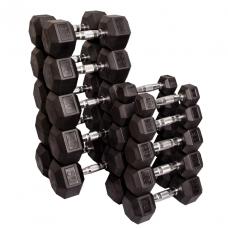 Набор гексагональных гантелей: 10 пар от 2,25 кг до 22,5 кг (шаг 2,25 кг) (Body-Solid)